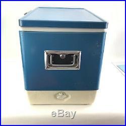 Vintage Coleman Blue Metal Cooler with Bottle Opener Handles