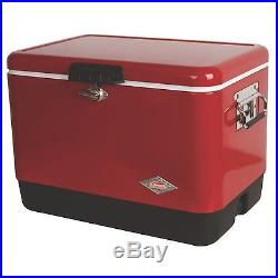 Vintage Coleman Cooler Metal Red Belted Ice Chest Camping Beach Steel 54 Quart