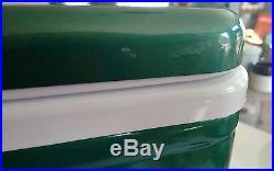 Vintage Coleman DIAMOND LOGO Green Metal Ice Chest Cooler Rare UNUSED 22