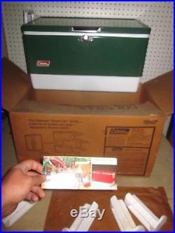 Vintage Coleman Green Low Boy Snow-Lite Cooler Metal Steel Storage Tray Box NEW