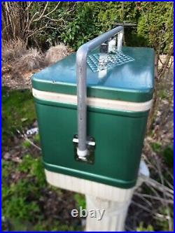 Vintage Coleman Green Metal Cooler with Handle Diamond Badge Ice Chest