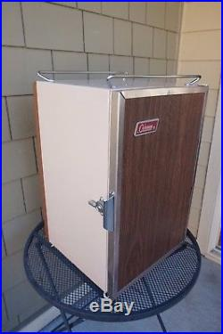 Vintage Coleman Ice Chest Cooler Wood Grain Metal Upright Standing Ice Box 3 Way