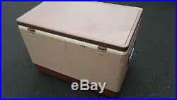 Vintage Coleman Metal Brown Tan Cooler Ice Chest Fishing Hunting Camp Outdoor
