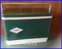 Vintage Coleman Metal Chest Cooler 1960S Retro Deco Diamond Logo Classic Beer