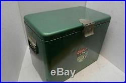 Vintage Coleman Metal Green Penguin Logo Cooler ice chest box 1950s Model 633