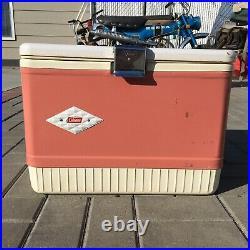 Vintage Coleman Pink Snow-Lite Diamond Logo Metal Ice Chest Cooler 1950s