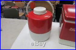 Vintage Coleman Red Metal Camping Cooler WITH JUG TRAY