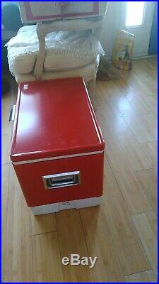 Vintage Coleman Red Metal Cooler Snow-Lite 56 Quart Model 5255c703 With Box
