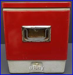 Vintage Coleman Red & White Cooler Metal Ice Chest Snow-Lite