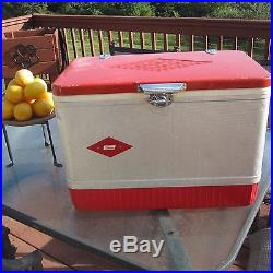 Vintage Coleman Red/silver Metal Cooler/ice Chest Diamond Logo 21x15.5x13