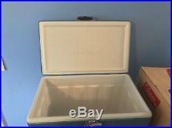 Vintage Coleman Snow Lite 56 Quart 5255C706 Blue Cooler in Box VERY CLEAN