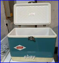 Vintage Coleman Snow Lite Metal Green Cooler with Original Box & Ad Model 5214B704