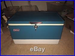 Vintage Coleman Steel Blue Cooler Ice Chest Metal Bottle Openers NICE