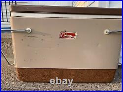 Vintage Coleman Tan Metal Cooler Ice Chest Folding Handles Removable Lid USA