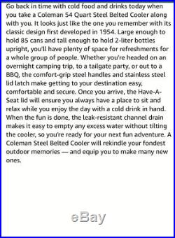 Vintage Coleman Turquoise 54 Quart Steel Belted Cooler Comfort Grip Handle Retro