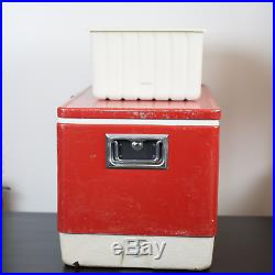 Vintage Coleman USA 1976 Red Metal Cooler Metal Handles Inside Trays