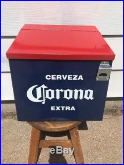 Vintage Corona Extra Cerveza Beer Metal Ice Chest Cooler from a bar with Opener