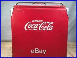 Vintage DRINK COCA-COLA Red Metal Cooler Progress Refrigeration Louisville KY