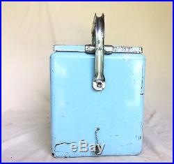 Vintage DRINK PEPSI COLA Rare Baby Blue Metal Cooler with Aluminum Liner & Tray
