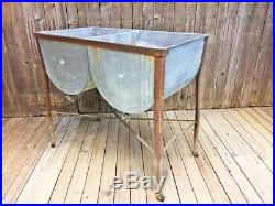 Vintage Double Basin Wash Tub cooler stand metal cottage chic rustic old country