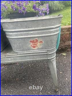 Vintage Double Basin Wash Tub stand metal galvanized planter cooler Wheeling 50s