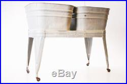 Vintage Double Basin Wash Tub stand metal galvanized rustic country beer cooler