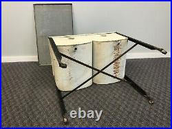 Vintage Double Basin Wash Tub w Lid white stand metal rustic cooler country chic