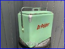 Vintage Dr Pepper 1950's All Metal Picnic Cooler Classic / With Tray Gorgeous