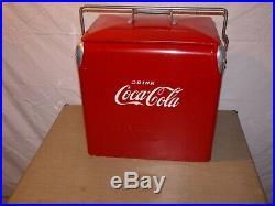 Vintage Drink Coca Cola Cooler Ice Chest Original Red Metal 1950s Acton MFG Co