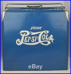 Vintage Drink Pepsi Cola Double Dot Large Blue Metal Ice Cooler Advertisement