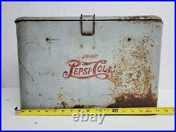 Vintage Drink Pepsi Cola Double Dot Logo Metal Advertising Picnic Cooler Gray