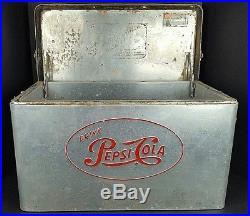 Vintage Drink Pepsi Cola Large Alcoa Aluminum Metal Ice Cooler Advertisement