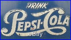 Vintage Drink Pepsi Cola Single Dot Large Blue Metal Ice Cooler Advertisement