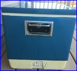 Vintage EXTRA-LARGE Blue Metal COLEMAN Ice Chest Cooler 28x 16x 16