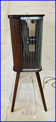 Vintage Electric Fan Mathes Cooler 4-LEG RARE Metal ADJUSTABLE WOOD VANE LOUVERS