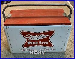 Vintage Embossed Metal Double Sided Miller High Life Beer Cooler Miller Brewing