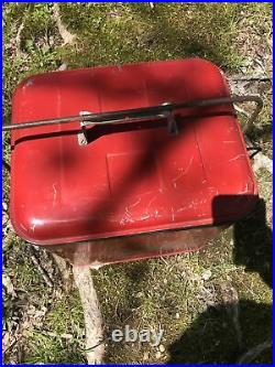 Vintage Eskimo Cooler Chest Mid Century 1950s Red Metal Cooler Soda Beer Ice Box