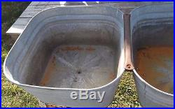 Vintage Farmhouse Galvanized Double Basin withStand Double Wash Tub Cooler Planter