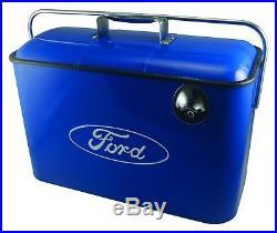 Vintage Ford Metal Cooler BLUE