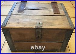 Vintage Fox Dairy Waukesha Wood & Metal Liner Milk Cooler Bottle Crate