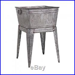 Vintage Ice Chest Cooler Patio Deck Outdoor Tub Stand Galvanized Retro Old Style