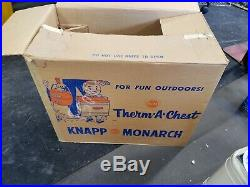 Vintage Knapp Monarch Therm A Chest Picnic Metal Cooler withBox RARE bottle opener