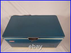 Vintage Large Blue Metal Coleman Cooler W Ice Container & Tray Inside 28 Long