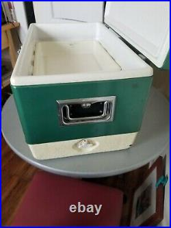 Vintage Large Green Coleman Metal Cooler Ice Chest 1970's