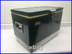 Vintage Large Green Metal Coleman Cooler Ice Chest 44 Quart 1977 Camping Picnic