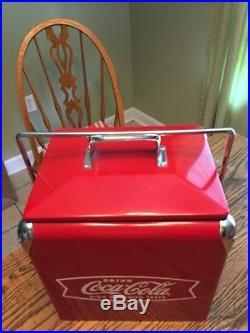 Vintage Look Fishtail Logo Metal Coca Cola Cooler box
