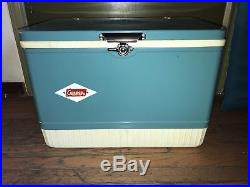 Vintage MCM Coleman Steel Belted Cooler Snowlite Scarce Turquoise Blue Complete