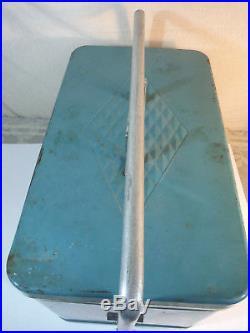 Vintage MCM Turquoise Aqua Blue Metal Coleman Cooler Ice Chest Diamond Logo 60's