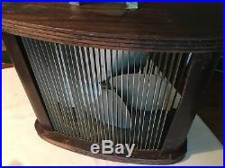 Vintage Mathes Cooler Electric Four Blade Fan Wood Casing Metal Screens