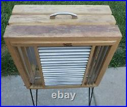 Vintage Mathes Cooler Model 544 Wood Box Fan with Metal Legs